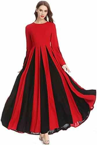 f3fe67c999 Close-dole Women's Stitching Slim A-line Dress Temperament Lady Long Skirt  Muslim Long