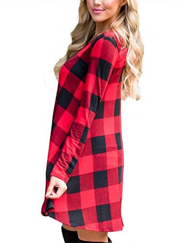Alvaq Femmes Balançoire Lâche À Carreaux À Carreaux À Manches Longues T-shirt Rouge Robe