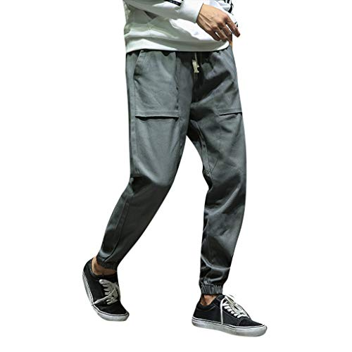 - Connia Men's Sport Pants Casual Drawstring Ankle-Length Small Feet Pocket Loose Sweatpants Trousers Pant (Dark Gray, L)