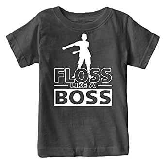 Fantastic Tees Kids Floss Like a Boss Flossin Dance Youth T Shirt (Charcoal, Youth XS)