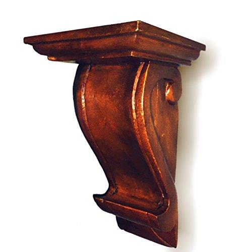 CinMin Handcarved Oak Stain Corbel Wood Wall Bracket / Floating Shelf, 10.5 Inch - Oak Corbels Medium