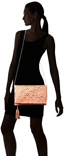 BMC da donna perforato oro tagliata Accent impuntura colore Fashion frizione borsa Rosa (Rosa salmone)