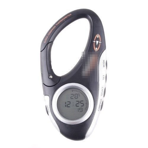 Nicebee Mini Clip on Travel Digital Compass Thermometer Clock For sports camping
