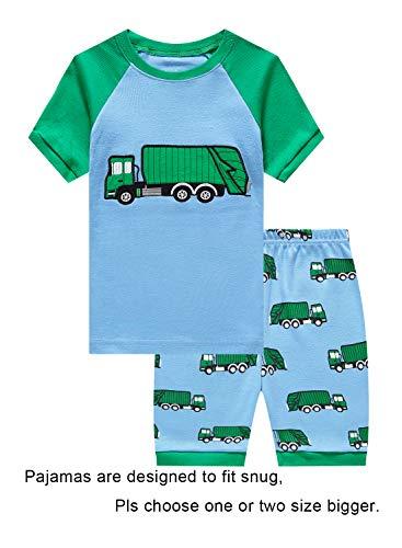 Price comparison product image KikizYe Little Boys Garbage Truck Summer Pajamas Short Sets 100% Cotton Toddler Kid 3T