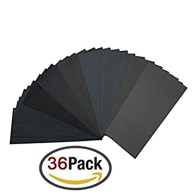 Homder 400 to 3000 Grit Sandpaper Assortment, Dry/ Wet, 9 x 3.6 Inch, 36 Pieces for Automotive Sanding, Wood Furniture Finishing and Wood Turning Finishing