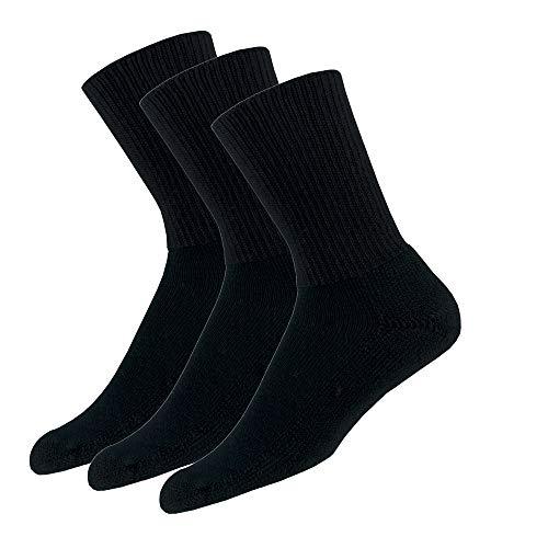 Thorlos TX Max Cushion Tennis Crew Socks, Black (3 Pair Pack), Large