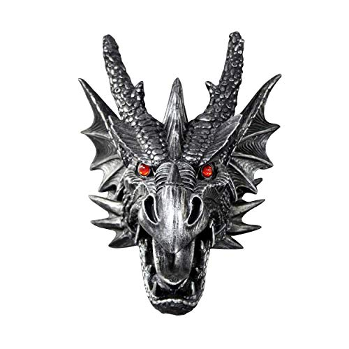 Wall Charmers Antique Silver Faux Dragon Head Wall Hanging - 18