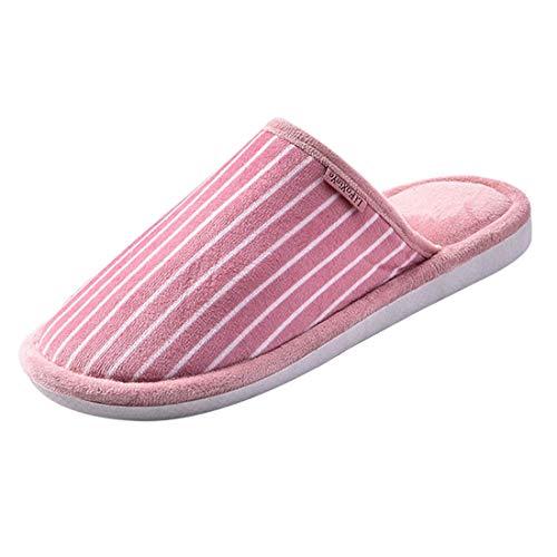 Slipper House Plush Pink Skid Jiyaru Men Anti Women Soft f8wqwYI0x