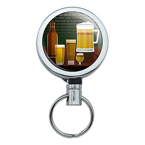 Lager Pilsner (Retractable Reel Belt Clip ID Badge Key Holder Food Drink Bacon Coffee - Beer Glasses Ale Pilsner Stout Lager)
