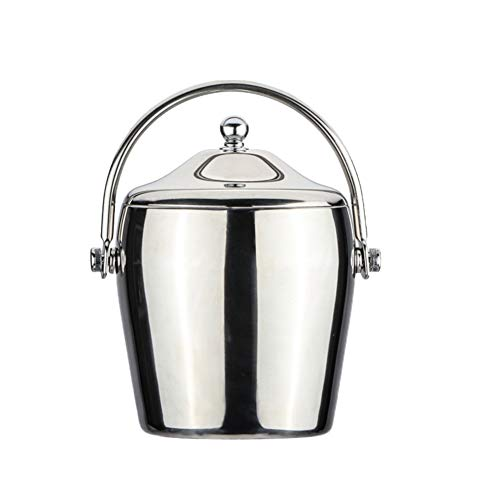 MLXG Double Wall Insulated Ice Bucket, Stainless Steel Portable Ice Bucket, Rust Resistant Leak Resistant with lid and Tongs Barware-Polish 2L ()