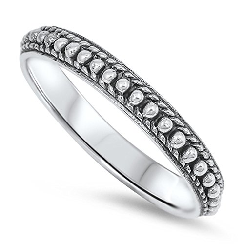 Double Accent Sterling Silver Oxidize Finish Bali Design Ring Band (Size 3 to 13) Size 8