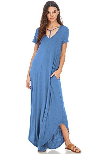 Indigo Floral Skirt (Modern Kiwi Anika V-Neck T Strap Pocket Short Sleeve Maxi Dress Indigo Blue Medium)