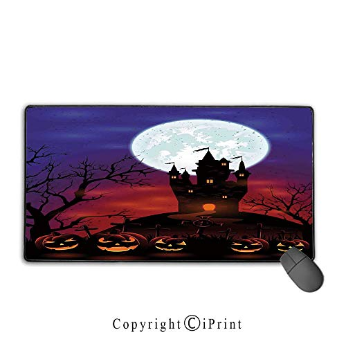 Mouse pad with Lock,Halloween Decorations,Gothic Haunted House Castle Hill Valley Night Sky October Festival Theme,Multi,Suitable for laptops, Computers, PCs, Keyboards,15.8
