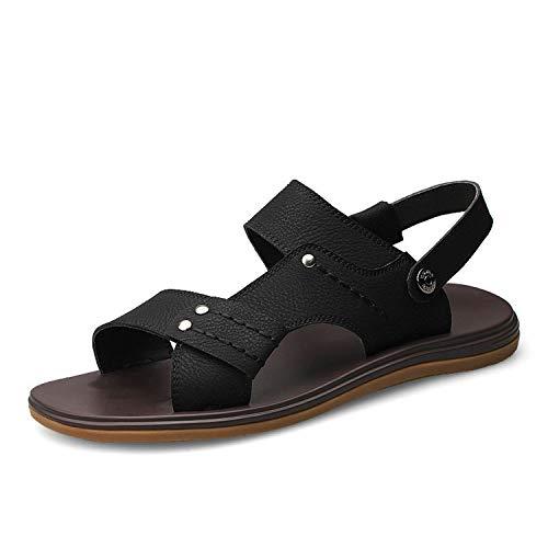 Men Fashion Anti-Slip Genuine Leather Sandals Indoor Summer Open Toe Flats Shoes Sandals,Black,8