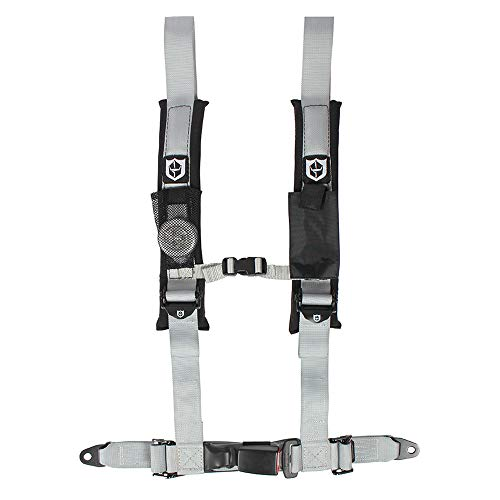Pro Armor A16UH349SV Auto Style 4 Point Harness 2 Inch Lap Seat Belt Straps Silver Passenger Side ()
