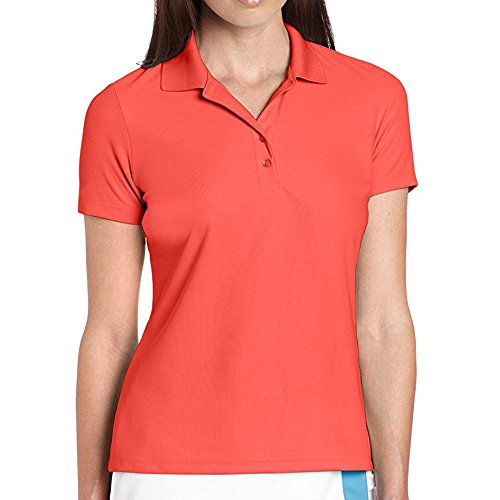 Greg Norman Collection Women's Protek Micro Pique Polo Shirt, Coral Fusion, Small