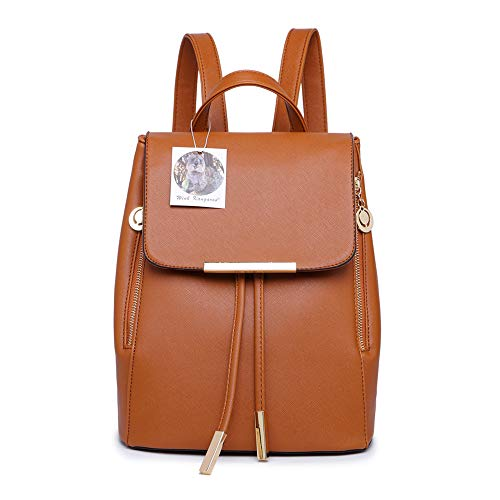 Ladies bag Backpack KANGAROO Bag PU Shoulder Leather Rucksack Fashion Travel WINK Brown Women 1 Girls fq7z7