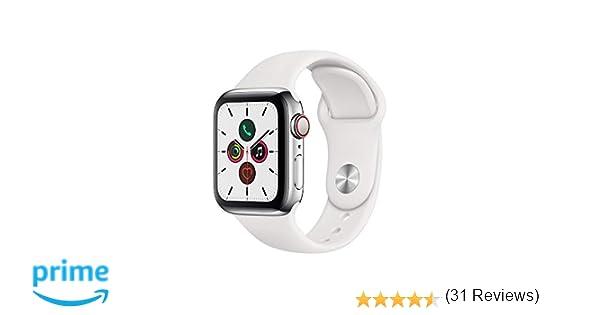 Apple Watch Series 5 (GPS + Cellular, 40 mm) Acero Inoxidable - Correa Deportiva Blanco