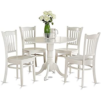 East West Furniture DLGR5-WHI-W 5-Piece Kitchen Nook Dining Table Set  sc 1 st  Amazon.com & Amazon.com - East West Furniture DLGR5-WHI-W 5-Piece Kitchen Nook ...