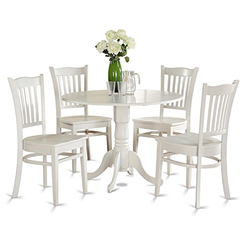 East West Furniture DLGR5-WHI-W 5-Piece Kitchen Nook Dining Table Set, Linen White Finish (Round Dining Room Tables Sets)