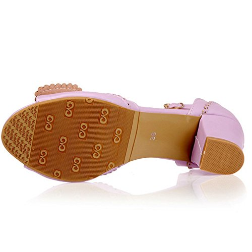 Coolcept Mujer Moda Al Tobillo Sandalias Tacon Ancho Zapatos With Bowknot Purpura