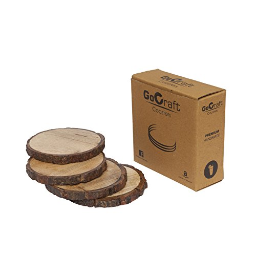 GoCraft Natural Wooden Coasters with Tree Bark, Mango Wood Coasters for your Drinks, Beverages & Wine/Bar Glasses (Coasters Set of 4) by GoCraft