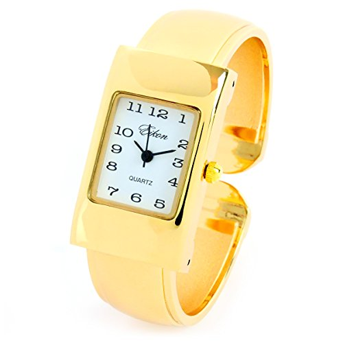 FTW Gold Tone Rectangle Case Easy to Read Small Size Women's Bangle Cuff ()