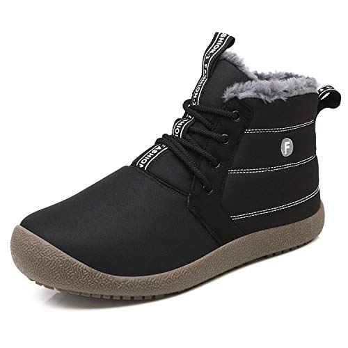 OUYAJI Waterproof Snow Sneakers Boots Fur Lined Ankle-high Outdoor Slip-on Booties Anti-Slip Winter Shoes for Womens Men Black ()