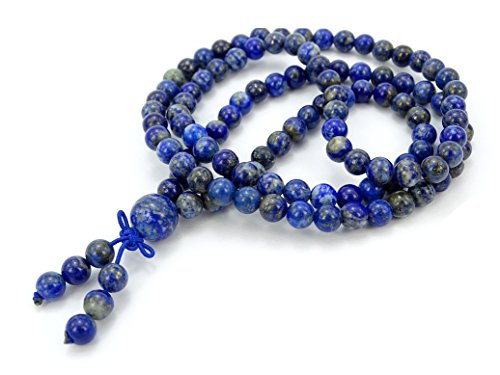 Lapis Star Bracelet (jennysun2010 Handmade Multi-Purpose Natural 6mm Lapis Lazuli Gemstone Buddhist 108 Beads Prayer Mala Stretchy Bracelet Necklace Healing 26