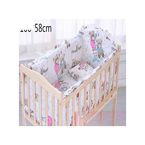 (5Pcs Set Pure Cotton Baby Bed Bumper Removable Thickened Baby Bedding Baby )