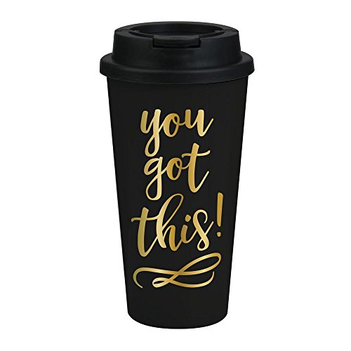 You Got This Travel Mug - Motivational Gifts for Women, Black and Gold Travel ()