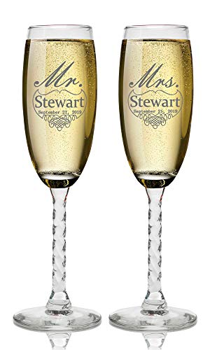 Set of 2 Personalized Wedding Champagne Flutes- Mr and Mrs Design - Engraved Flutes for Bride and Groom Gift for Customized Wedding Gift ()