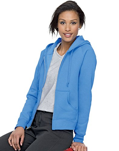 Hanes Women's Raglan Sleeves Full-Zippered Cotton Hoody - CAROLINA BLUE - XX-Large