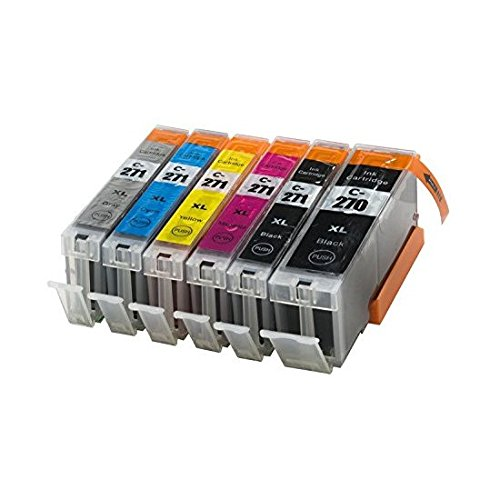 Sherman Ink Cartridges Compatible 6 Pack 270 271 CLI271 PGI270 Premium Long Lasting Ink Cartridge for Printers PIXMA MG7720 MG6820 MG6821 MG6822 MG5722, MG5721, MG5720, TS8020, TS6020, TS9020 CLI PGI