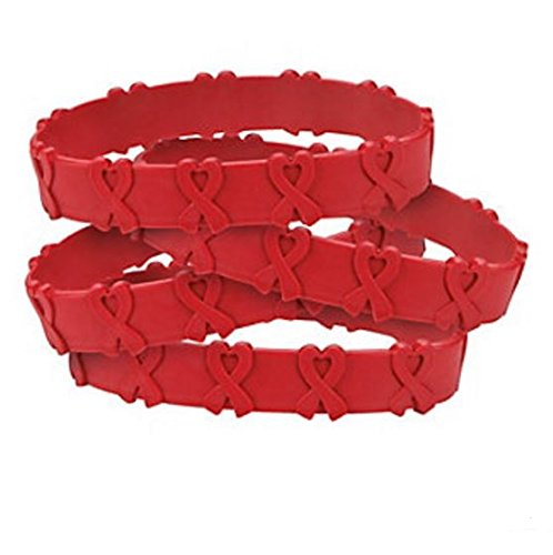50 RED AWARENESS POP-OUT BRACELETS! HEART DISEASE, HIV/AIDS, SUBSTANCE ABUSE ()