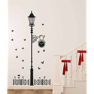 Decals Design 'Black Antique Street Lamp with Butterflies' Wall Sticker (PVC Vinyl, 60 cm x 90 cm x 1 cm, Black)