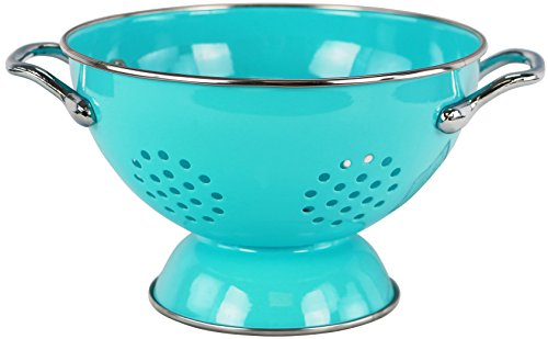 Cherry Design Colander - Calypso Basics by Reston Lloyd Powder Coated Enameled Colander, 1.5 Quart, Turquoise