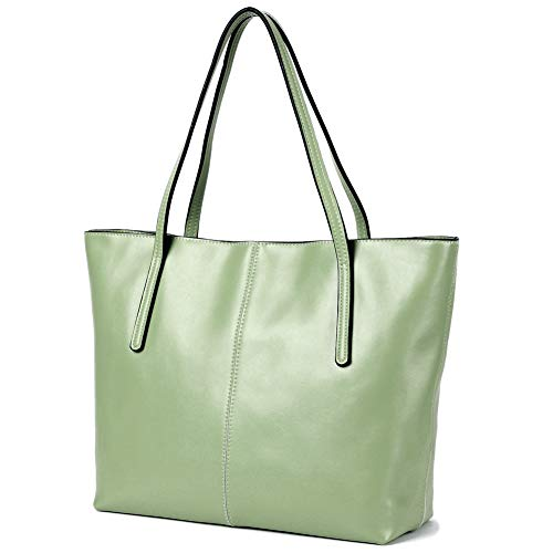 - CHERRY CHICK Women's Genuine Leather Tote Bag Oversize Purse for Autumn Hot Gift Idea (Sage Green-2152)