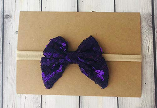 Purple Sparkle bow -Purple Sequin bow - girls bow - shiny bow - purple hairbow - plum bow - plum hairbow - sparkle bow - purple bow - sailor bow - purple sailor bow - nylon headband - baby headband (Shiny Plum)