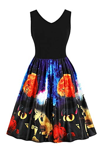 Killreal Women's Vintage Sleeveless A-line Moon Pumpkins and Cats Pattern Halloween Holiday Dress Black XXXX-Large -