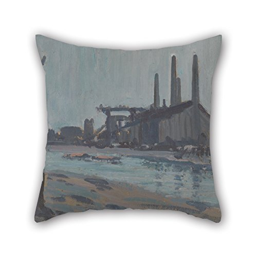[Loveloveu 20 X 20 Inches / 50 By 50 Cm Oil Painting Hercules Brabazon Brabazon - Landscape With Industrial Buildings By A River Throw Pillow Covers ,each Side Ornament And Gift To Home Theater,boy] (Hercules Costume Couple)