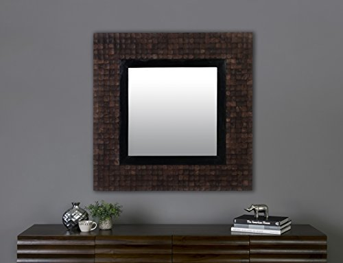 East at Main Silvia Brown Rustic Square Coconut Shell Mirror (35.5'' x 1.5'' x 35.5'') by East At Main