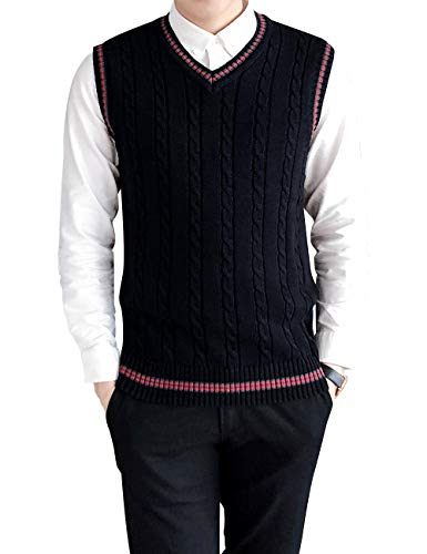 Cable Knit Wool Vest - TOPTIE Men's V-Neck Cotton Cable Knit Sweater Vest Slim Fit Casual Waistcoat-Black-L