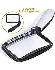 Kaome Lupa rectangular con lupa de luz, grande, plegable, de mano, 5 LED, 2 modos de atenuación, 2 modos de lectura para personas mayores, libros de baja visión, periódicos y mapas de joyería
