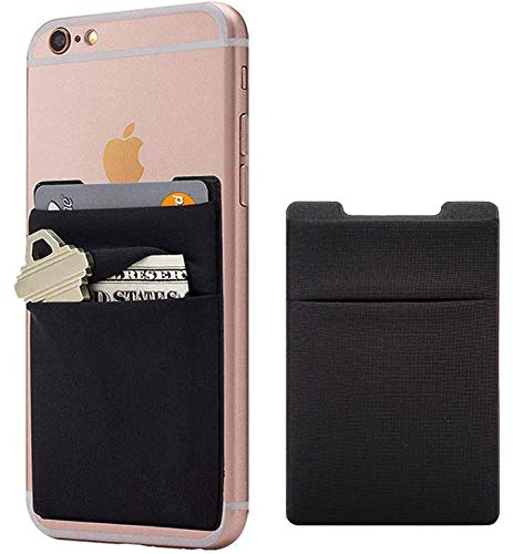 2Pack Adhesive Phone Pocket,Cell Phone Stick On Card Wallet,Credit Cards/ID Card Holder(Double Secure) with 3M Sticker for Back of iPhone,Android and all Smartphones-Double Pocket-Black