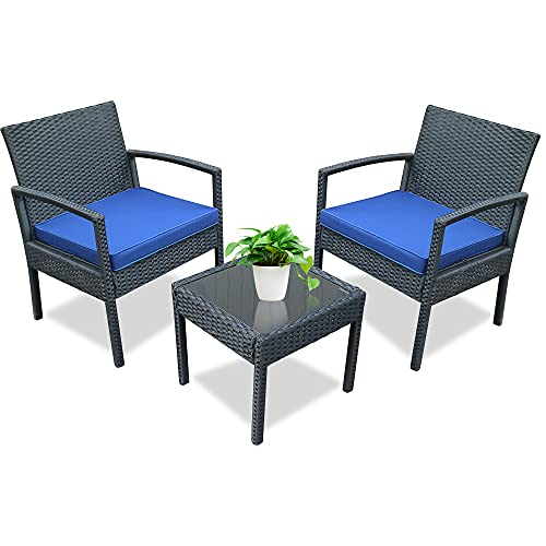 Tochiyoga 3 PCS Outdoor Patio Furniture Set Bistro Sofa Set Wicker Rattan Conversation Chairs and Coffee Table w/Washable Cushion for Lawn Backyard Porch Garden Poolside (Black Sets + Blue Cushion)