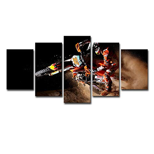 SHOMPE Canvas Poster Wall Art 5 Panels Motorcycle Paintings HD Prints X-Game Sports Motor Pictures (No Frame) Unframed Artwork for Living Room Modern Home Decorations