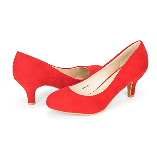 (DREAM PAIRS Women's Luvly Red Bridal Wedding Low Heel Pump Shoes - 10 M US)