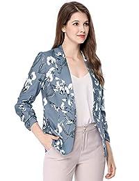 Allegra K Women's Notched Lapel Button Front Floral Blazer