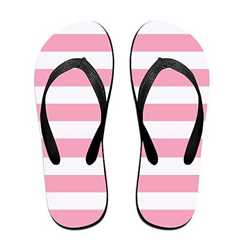 Unisex Rosa Stripe Sommer Tropp Flip Flops Stranden Slippers Plattformer  Sandal For Menn Kvinner Svart